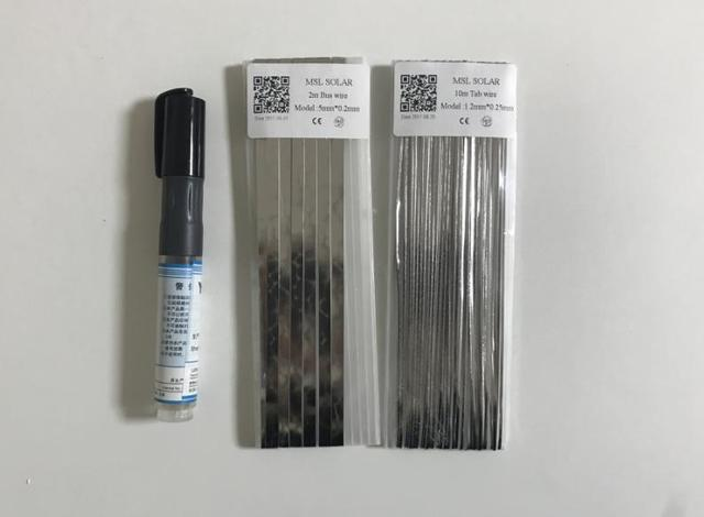 Solar cell tabbing wire 1.2*0.25mm + 5*0.2mm + Flux pen ,solder ribbon wire for solar panel solding and other electronic parts .