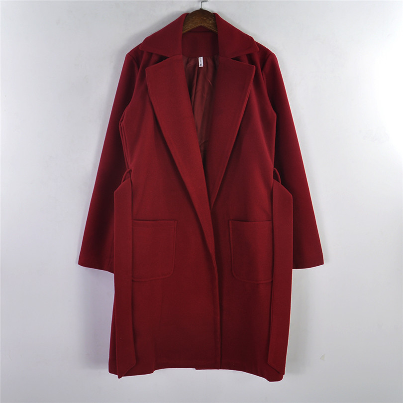 MVGIRLRU élégant Longues Femmes de manteau revers 2 poches ceinturé Vestes solide couleur manteaux vêtements de dessus pour femmes - 5