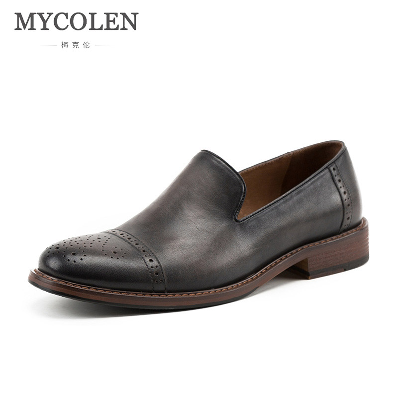 MYCOLEN Genuine 2018 Luxury Brand Spring And Summer New Original Handmade Rub Color Men'S Leather Shoes Erkek Ayakkabi Deri туфли deri