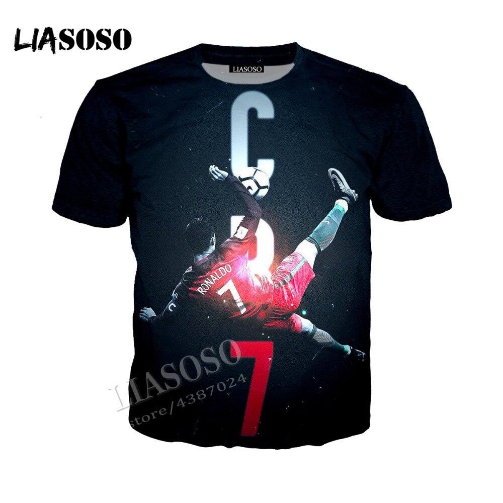 LIASOSO 3D latest print comfortable polyester shirt football star Ronaldo dark hoodie zipper hoodies men women sportswear CX211