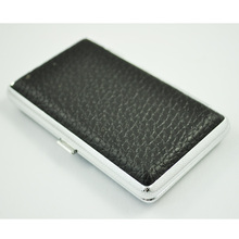 Hot Amico Metal Frame Black Faux Leather Cigarette Storage Case Box