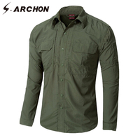 S.ARCHON Urban Quick Dry Military Cargo Shirts Men Casual Lightweight Long Sleeve Tactical Shirt For Male Thin Army Combat Shirt