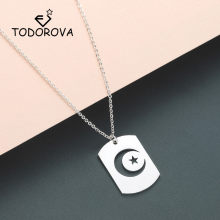 Todorova Crescent Moon Star Outline Neckless Men Stainless Steel Night Sky Islamic Muslim Jewelry Dog Tag Pendant Necklace Women(China)