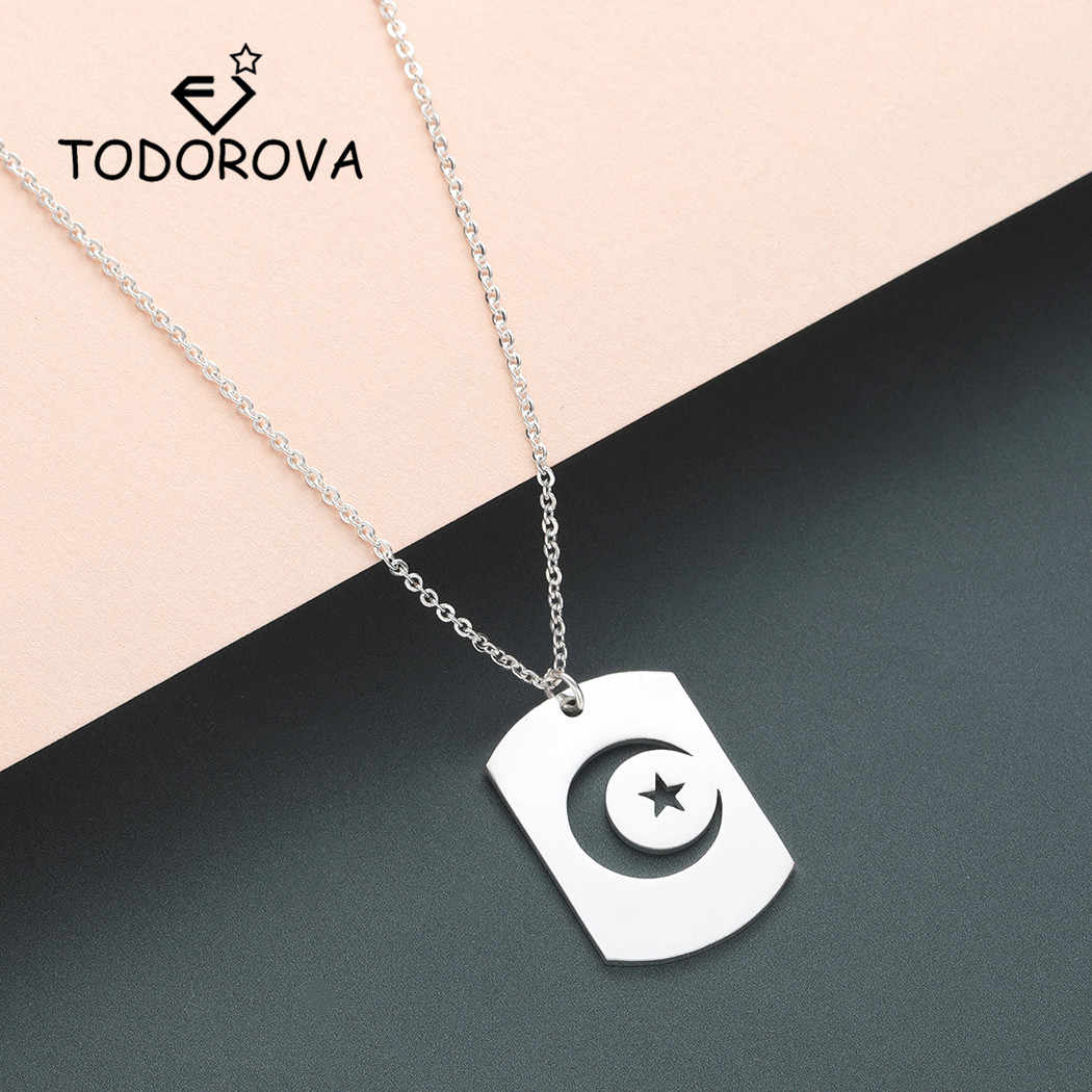 Todorova Crescent Moon Star Outline Neckless Men Stainless Steel Night Sky Islamic Muslim Jewelry Dog Tag Pendant Necklace Women