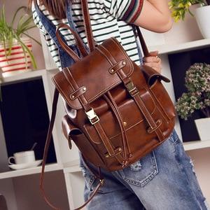 Image 3 - Vintage Leather Backpack Women Fashion Large Drawstring Rucksack School Travel Bag For Teenage Girls mochilas Black Brown XA480H