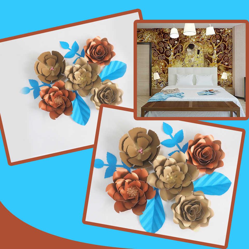 Diy Giant Paper Flowers Artificial Rose Fleurs Artificielles Backdrop 5pcs 4 Leave Bedroom S Wall Decor Nursery Mix Gold Copper