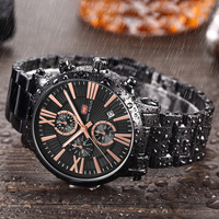 MINI FOCUS Fashion Man Watch Men Rose Gold Stainless Steel Strap 3 Dial Analog Chronograph Military Top Brand Luxury Watch
