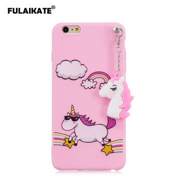 FULAIKATE for iPhone 6s Plus Case Silicone Unicorn Pendant Back Cover for iPhone 6 Plus Candy Color Phone Protective Cases 5.5 iphone 6