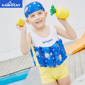e7ceeea7c0f60 SABOLAY Children Professional Buoyant Swimming Suits Cartoon Printed  Training Floating Bodysuits Detachable Swimwear for Boys