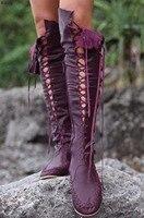 Круглый носок бахрома плоская подошва Сапоги Розовый Зеленый Оранжевый Фиолетовый Синий Хаки высокие сапоги до колена с перекрестной шнур