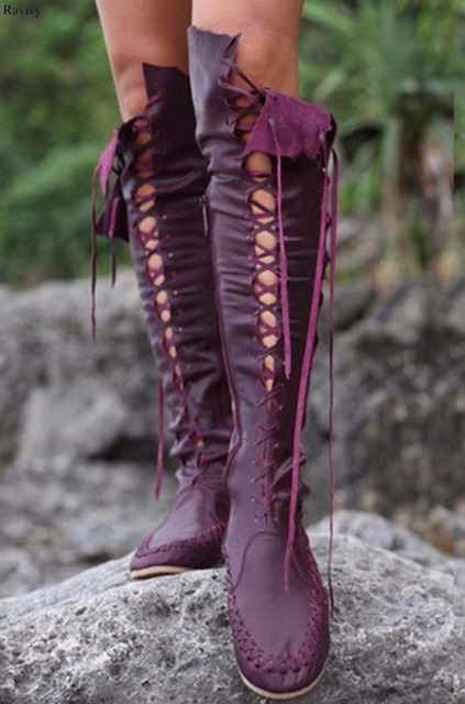 b9c57e2a8a55 Round-Toe-Fringe-Flat-Heel-Boots-Pink-Green -Orange-Purple-Blue-Khaki-Knee-High-Long-Boots.jpg 640x640.jpg