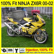 8Gifts Injection mold Body For KAWASAKI NINJA ZX-6R 00-02 1HM51 ZX 6R ZX6R 00 01 02 ZX636  2000 2001 2002 Fairing yellow black