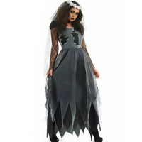 New Ghost Bride Costume For Women Adult Halloween Fantasia Vampire Cosplay Fancy Dress Dark Angel Clown