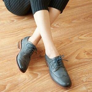 Image 5 - אמיתי כבש עור מבטא אירי נעלי yinzo ליידי דירות נעלי בציר בעבודת יד חורף אוקספורד נעלי לנשים שחור אפור חום