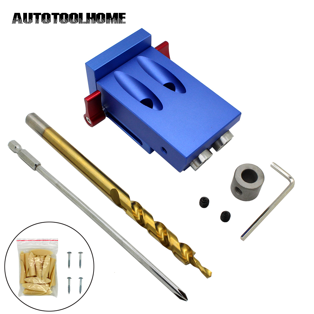цена на Pocket Hole Jig Kit Set 9.5mm Step Drill Bit Stop Collar For Kreg Woodworking Manual Pilot Wood Drilling Hole Saw Master System