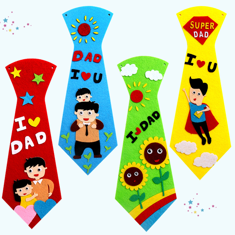 DIY Toys Creative Crafts Non-woven Ties Kindergarten Children Kids Handmade Educational Toys Fathers Day Gift Toy For Boys Girls
