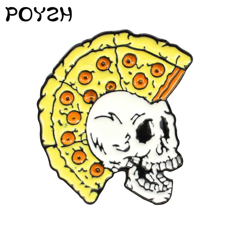 Smiling Face Skull Brooches Yellow pizza hairstyle skeleton Originality Enamel Lapel Pin Halloween Funny Jewellery gift children