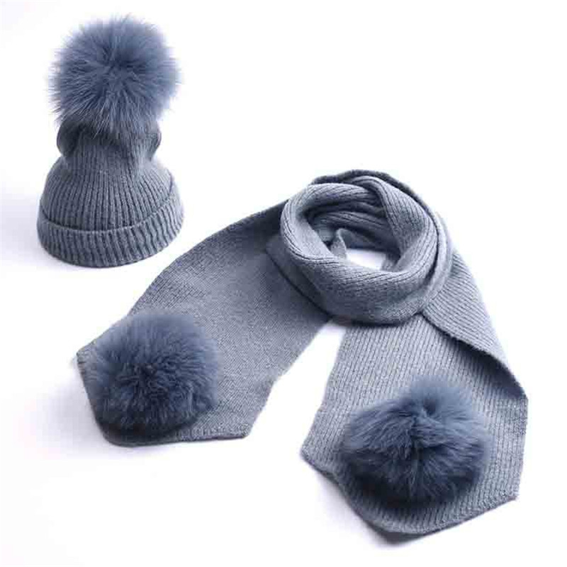 Kids Age 2-10 Winter Warm Hat Sets Boys Girl Thick Knit Beanie Hats And Scarves Three Real Fur PomPom Hat Scarf Set For Children