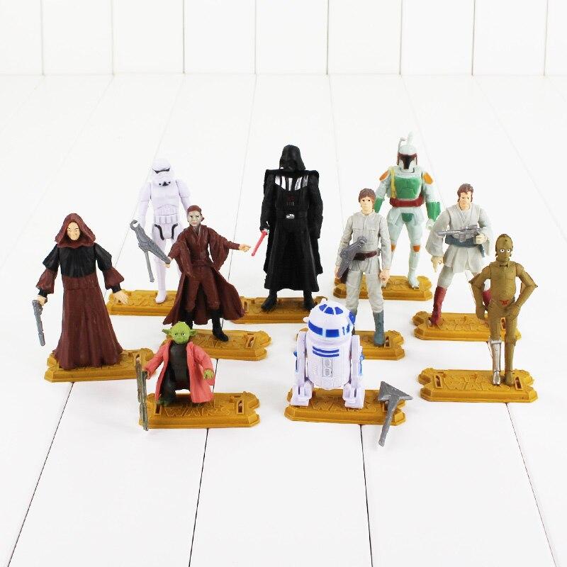 10pcs/lot Star Wars Figure Toy Master Yoda Darth Vader Skywalker Boba Fett Stormtrooper R2D2 Cartoon Model Doll for Children