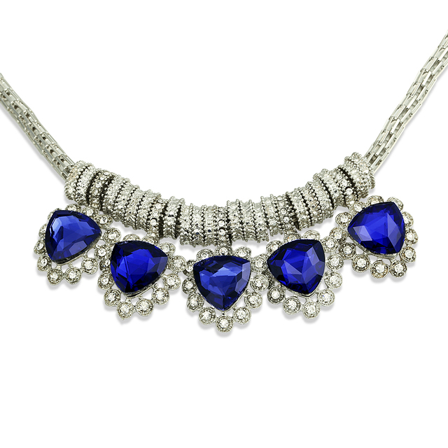 2016 Bohemia Chokers Necklaces Pendants Femme African Blue Heart Rhinestone Pendants Silver Plated Statement Necklace For Women