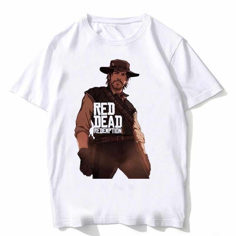 赤デッド償還 2 tシャツヒップホップスタイル新おかしいデザイン Tシャツ男性ファッション男性 tシャツホワイト色男性トップス