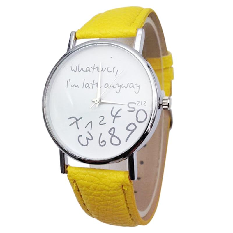 YCYS whatever i am late anyway English alphabet Cartoon digital Leather Wrist font b Watch b