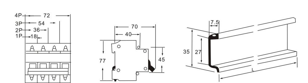 DZ47-63 16A AC380v 3 fase Mini Disjuntor