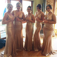 Long Champagne Gold Sequins V Neck Mermaid Bridesmaid Dresses 2017 New Style