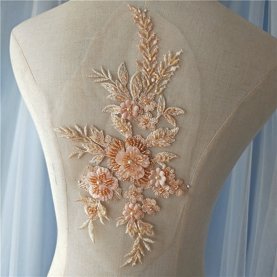 8 Colors 3D Floral Wedding Dress Lace Applique Beaded Sewing-On Trim Embroidered DIY Handmade Craft Bride 28*16.5cm