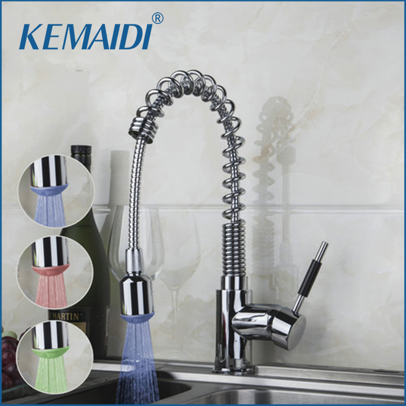 KEMAIDI Kitchen Sink Tap Chrome Finish Pull Down Spray LED Kitchen Faucet Spring Hot And Cold Water Mixer Deck Mounted Faucets 1roll 35mmx7m high quality rabbit home pattern japanese washi decorative adhesive tape diy masking paper tape label sticker gift page 6
