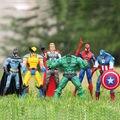6 шт./компл. марвел мстители супергерои капитан американской халк люди х росомаха пвх-паук фигурку игрушки куклы игрушка в подарок