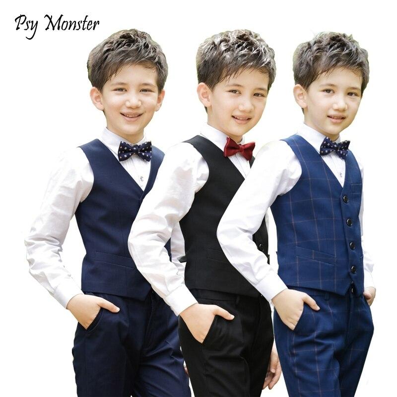 Brand Flowers Boys Formal Suit Wedding campus student Dress Gentleman Kids Waistcoat Shirt Pant Bowtie 4Pcs ceremony Costumes