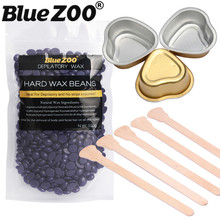 100g Hard Wax Beans Depilatory Body Hair Removal Set + 5pcs Wooden Waxing Spatulas + 3pcs Heart-shaped Aluminum Foil Bowl