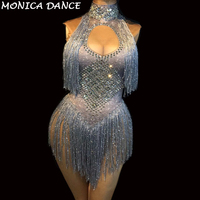 Nightclub Sexy Silver Tassel Bodysuit Sparkling Crystals Jumpsuit Birthday Party Stage Wear Dancer Singer Show Dance Costumes