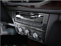 Middle Console CD Panel Cover Trim For Audi A6 C7 2012 16 Carbon Fiber Interior accessories 3D Stickers Car Styling