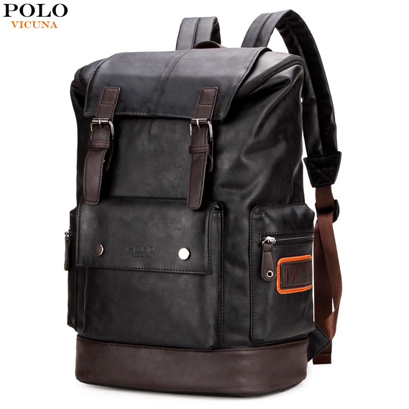 VICUNA POLO Fashion Unique Patchwork Mens Leather Backpack Bag Trendy Large Student Rucksack School Bag Simple Men Travel Bags edgy trendy casual canvas backpack men large capacity simple backpack fashion hook buckle travel bag durable rucksack