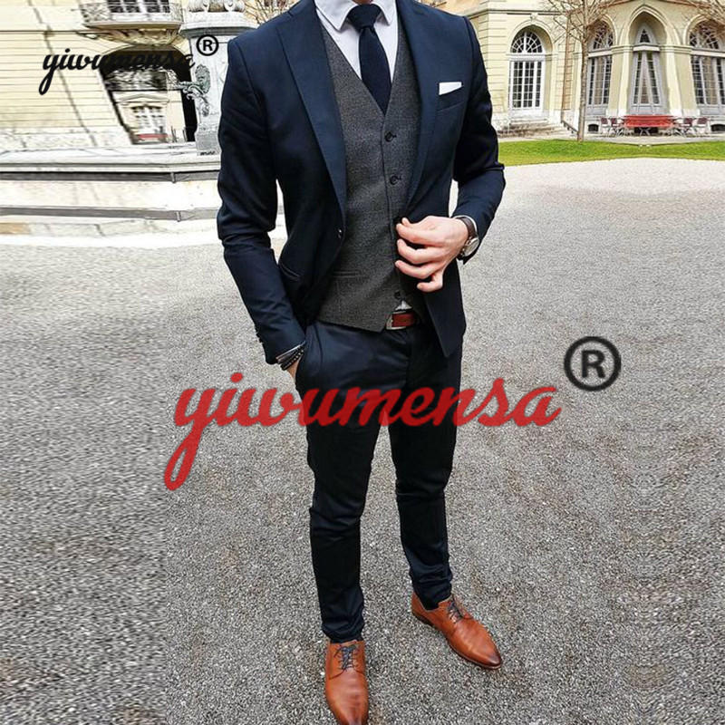 yiwumensa Costume Homme Mariage Navy With Grey Men Suits 2019 Custom Made 3 Pieces Wedding Groom Suit Traje Hombre tweed tuxedo