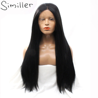 Similler 32 Natural Black Long Synthetic Lace Front Wigs For Women High Temperature Fiber