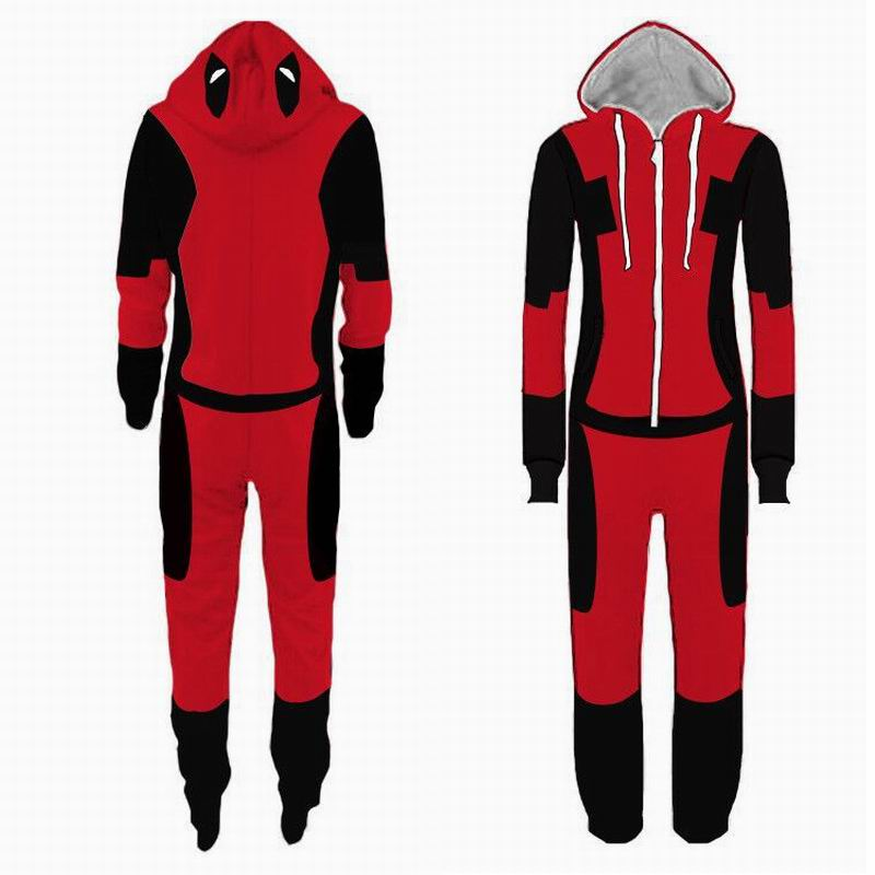 Adult Superhero Deadpool Cosplay Costume Man Pajamas Women Jumpsuit Sleepwear Cosplay Halloween Christmas Party Outfit