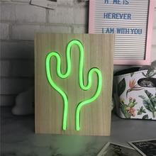 HOME GEM Battery Green Light Neon Lamp Wood Neon Light Holiday Cactus Shaped LED Night Light Home Festival Anniversary Decor
