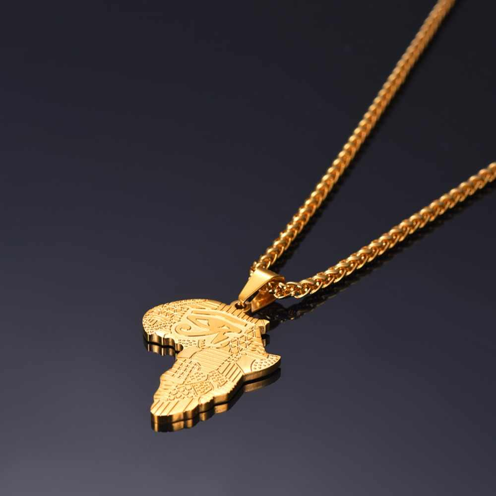 Collare African Map Pendant Mens Gold/Rose Gold/Black Color Rapper Stainless Steel Protection Jewelry Eye of Horus Necklace P892