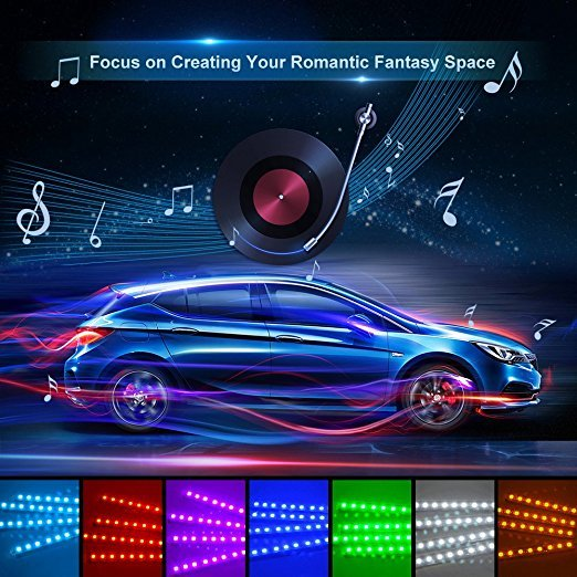 Car RGB LED Neon Interior Light Lamp Strip Decorative Atmosphere Lights Wireless Phone APP Control For Android IOS Kit Foot Lamp 3