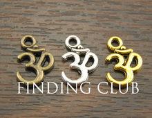 Pingente liga de metal om aum ohm mantra, 50 peças pingente 15x10mm ajuste jóias