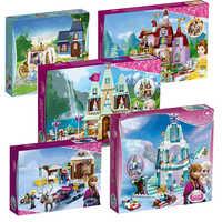 Prinzessin Burg Bausteine Schnee Königin Elsa Anna Cinderella Ariel Abbildung Kompatibel legoinglys Freunde Ziegel Spielzeug Modell