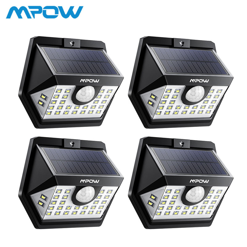4 Pack MPOW 30 LED Solar Garden Motion Sensor Lights Outdoor Lamp 3 Lighting Modes 270 Wide-angle Luz Solar Led Para Exterior