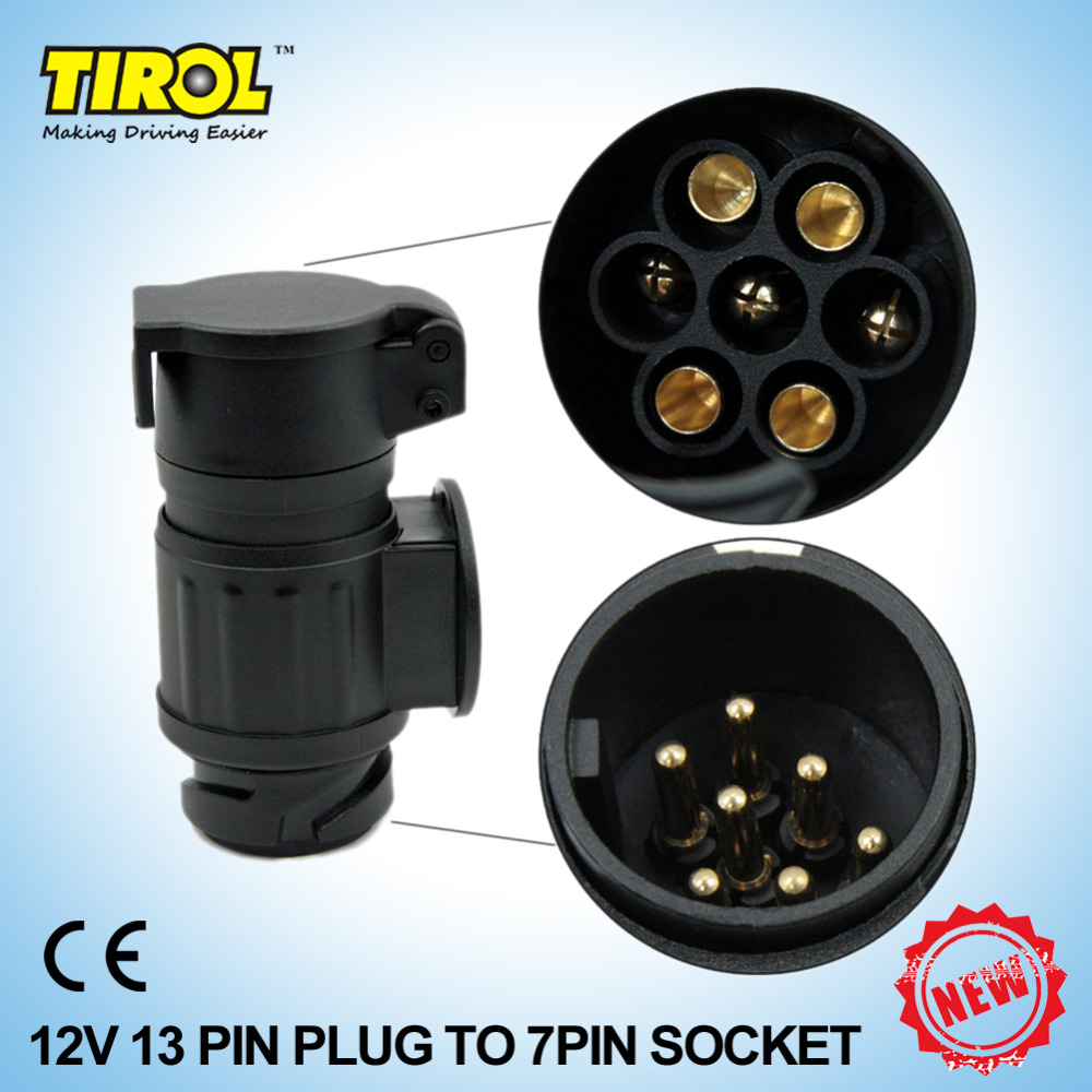 Tirol 13 To 7 Pin Trailer Adapter Black Frosted Materials Wiring For Plug Connector 12v Towbar Towing