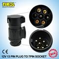 TIROL 13 A 7 Pin Adaptador de Remolque Negro esmerilado materiales de Cableado Conector 12 V Enganche de Remolque Remolque PlugT22809 Envío Gratis