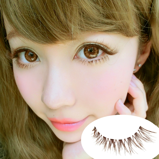 Short Design Cross Tea Brown Cute Eyelashes False Eyelashes Doll