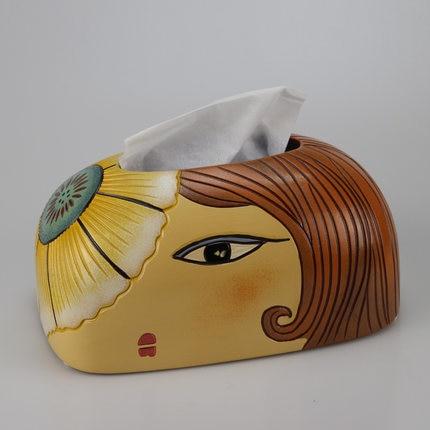 Скандинавская креативная ручная роспись коробка из керамической ткани персонализированное украшение для дома журнальный столик гостиная столовая хранение салфеток - Цвет: D
