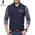 Troilus 2016 Autumn Striped Long Sleeve Polo Shirt Men Slim Fit Tees Brand Clothing Men Patchwork Stripe Breathable Polo Shirts